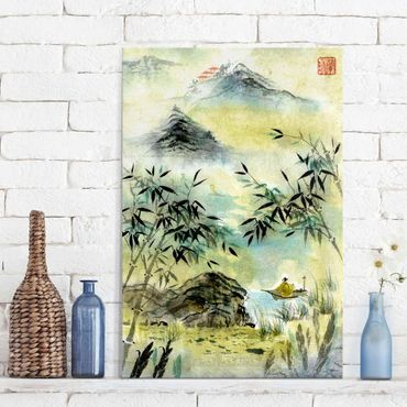 Quadro in vetro - Giapponese disegno ad acquerello Bamboo Forest - Verticale 3:2