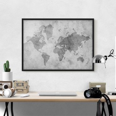 Poster con cornice - Vintage World Map II - Orizzontale 3:4
