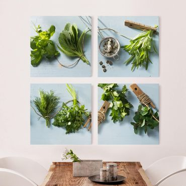 Stampa su tela 4 parti - bundled herbs