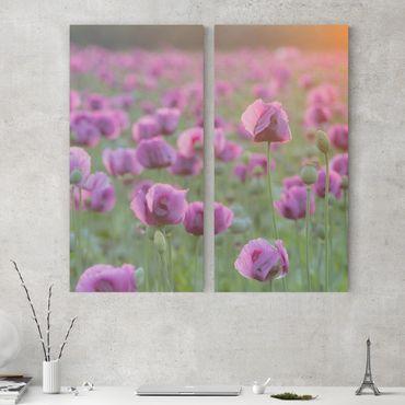 Stampa su tela 2 parti - Purple poppy flower meadow in spring - Verticale 2:1