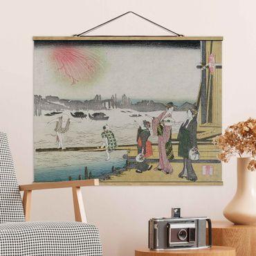 Foto su tessuto da parete con bastone - Katsushika Hokusai - Una serata fresca In Ryogoku - Orizzontale 3:4