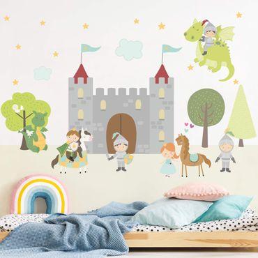 Adesivo murale - Castello dei Cavalieri di Dragon principe e la principessa