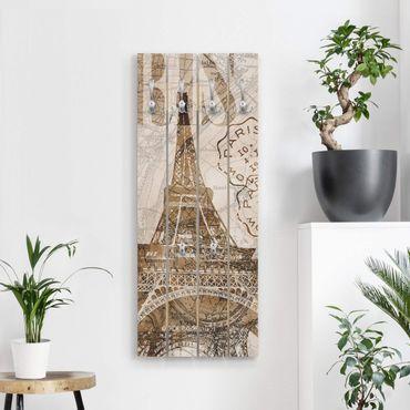 Appendiabiti in legno - Shabby Chic Collage - Parigi - Ganci cromati - Verticale