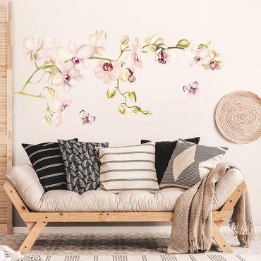 Adesivo murale fiori - Ramo di orchidea rosa con farfalle
