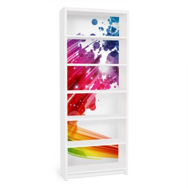 Carta adesiva per mobili IKEA - Billy Libreria - Rainbow Wave and Bubbles