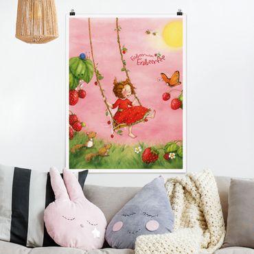 Poster - Strawberry Coniglio Erdbeerfee - Baumschaukel - Verticale 4:3