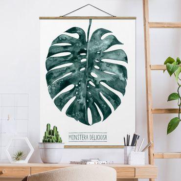 Foto su tessuto da parete con bastone - Emerald Green Monstera deliciosa - Verticale 4:3