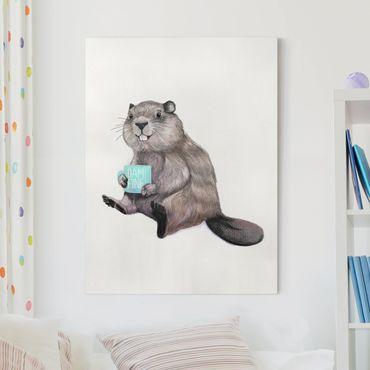Quadri su tela - Illustrazione Beaver con tazza di caffè