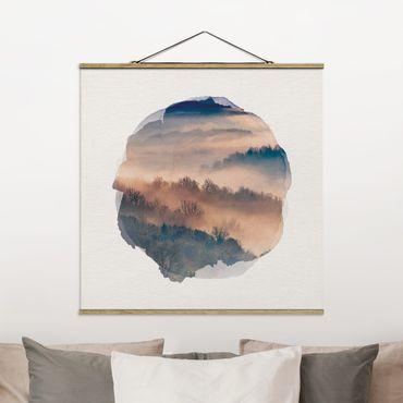 Foto su tessuto da parete con bastone - Acquerelli - Mist Al Tramonto - Quadrato 1:1