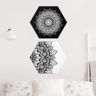 Esagono in Alu-dibond - Mandala Illustrazione Shabby Set Nero Bianco