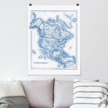 Poster - Mappa nei toni blu - America del Nord - Verticale 4:3
