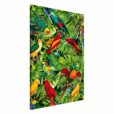 Lavagna magnetica - Colorato collage - Parrot In The Jungle - Formato verticale 2:3