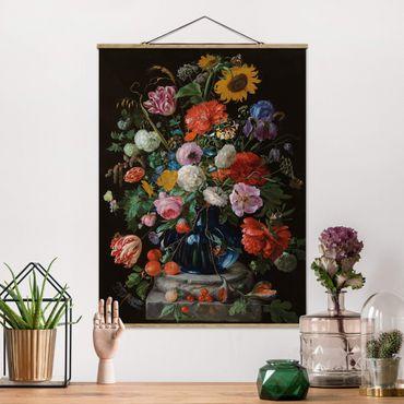 Foto su tessuto da parete con bastone - Jan Davidsz De Heem - Vaso di vetro con i fiori - Verticale 4:3