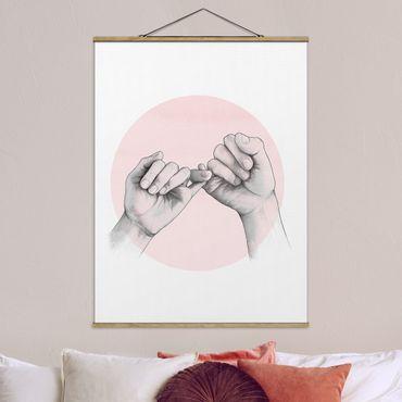 Foto su tessuto da parete con bastone - Laura Graves - Illustrazione mani Amicizia Circle Rosa Bianco - Verticale 4:3