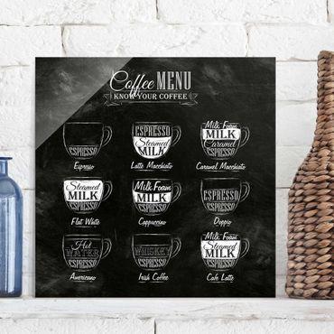 Quadro in vetro - Coffees chalkboard - Quadrato 1:1