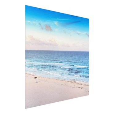Quadro in vetro - Cancun Ocean sunset - Quadrato 1:1