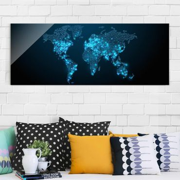 Quadro in vetro - Connected World World Map - Panoramico