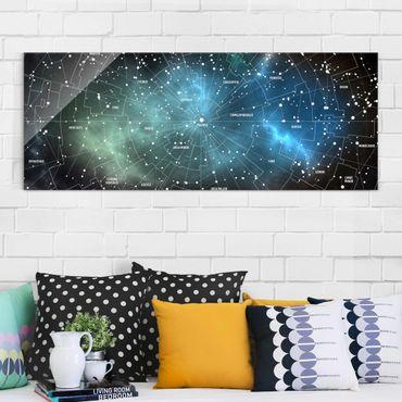 Quadro in vetro - Constellations map Galaxy fog - Panoramico