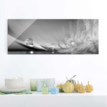 Quadro in vetro - Story of a Water Drop Black White - Panoramico