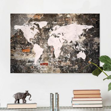 Quadro in vetro - Old wall world map - Orizzontale 3:2