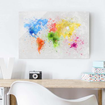 Quadro in vetro - Colorful splashes world map - Orizzontale 3:2