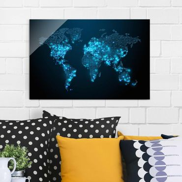 Quadro in vetro - Connected World World Map - Orizzontale 3:2