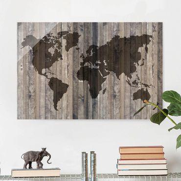 Quadro in vetro - Wood World Map - Orizzontale 3:2
