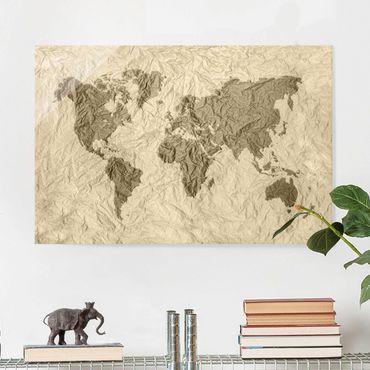 Quadro in vetro - Paper world map Beige Brown - Orizzontale 3:2