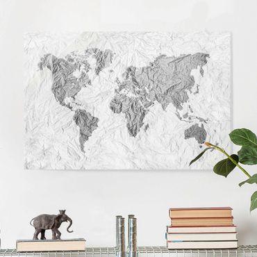 Quadro in vetro - Paper world map White Gray - Orizzontale 3:2