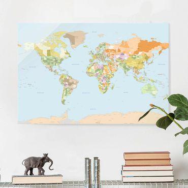 Quadro in vetro - Political World Map - Orizzontale 3:2