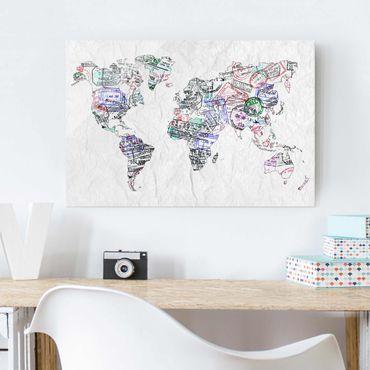 Quadro in vetro - Passport stamp world map - Orizzontale 3:2