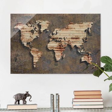 Quadro in vetro - Stainless World Map - Orizzontale 3:2