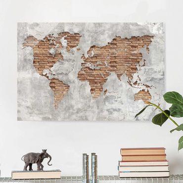 Quadro in vetro - Shabby Concrete Brick world map - Orizzontale 3:2