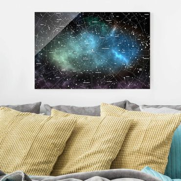Quadro in vetro - Constellations map Galaxy fog - Orizzontale 3:2