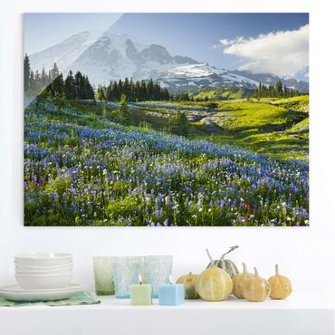 Quadro in vetro - Mountain meadow with flowers in front of Mt. Rainier - Orizzontale 4:3