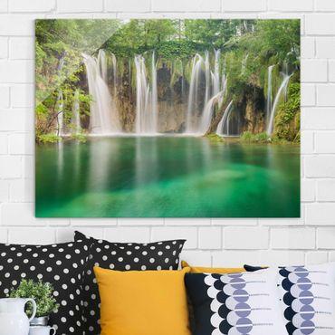 Quadro in vetro - Waterfall Plitvice Lakes - Orizzontale 4:3