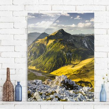 Quadro in vetro - Mountains and valley of the Lechtal Alps in Tirol - Verticale 3:4