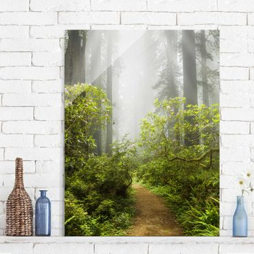 Quadro in vetro - Misty forest path - Verticale 3:4