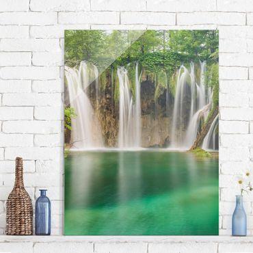 Quadro in vetro - Waterfall Plitvice Lakes - Verticale 3:4