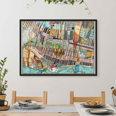 Poster con cornice - Modern Map Of Montreal - Orizzontale 3:4