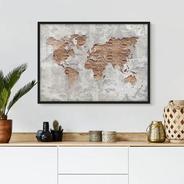 Poster con cornice - Shabby Concrete Brick World Map - Orizzontale 3:4