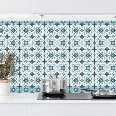 Rivestimento cucina - Piastrelle geometriche mix fiori turchese