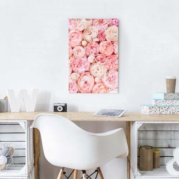 Quadro in vetro - Rose Rose Coral Shabby - Verticale 3:2