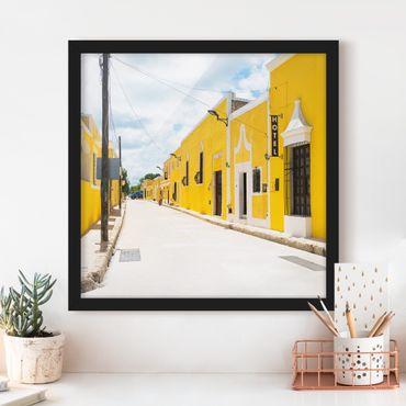 Poster con cornice - City In Yellow - Quadrato 1:1