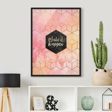 Poster con cornice - Make It Happen Geometria pastello - Verticale 4:3