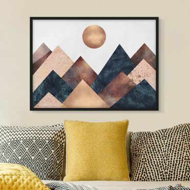 Poster con cornice - Geometrico Monti bronzo - Orizzontale 3:4