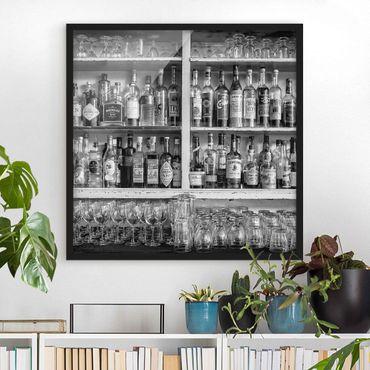 Poster con cornice - Bar Black White - Quadrato 1:1