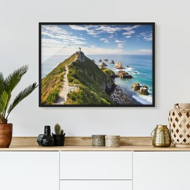 Poster con cornice - Nugget Point Lighthouse And Sea Zealand - Orizzontale 3:4