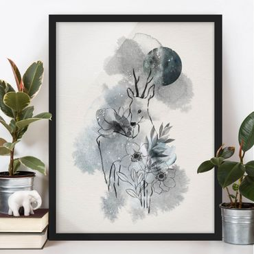 Poster con cornice - Deer And Moon - Verticale 4:3