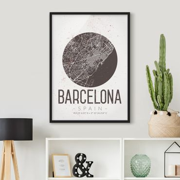 Poster con cornice - Barcelona City Map - Retro - Verticale 4:3